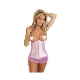 Snygg rosa midjekorsett med snörning i ryggen.